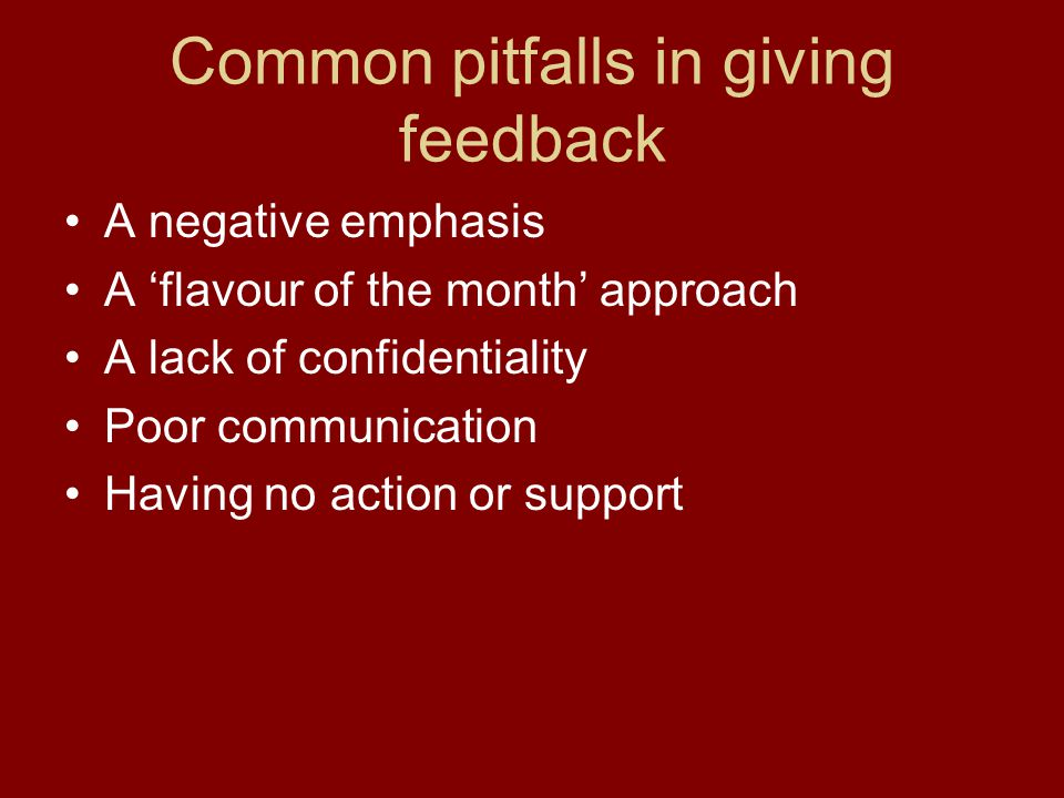 Common pitfalls in giving feedback