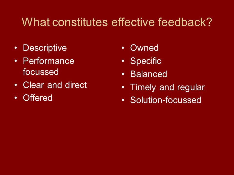 What constitutes effective feedback