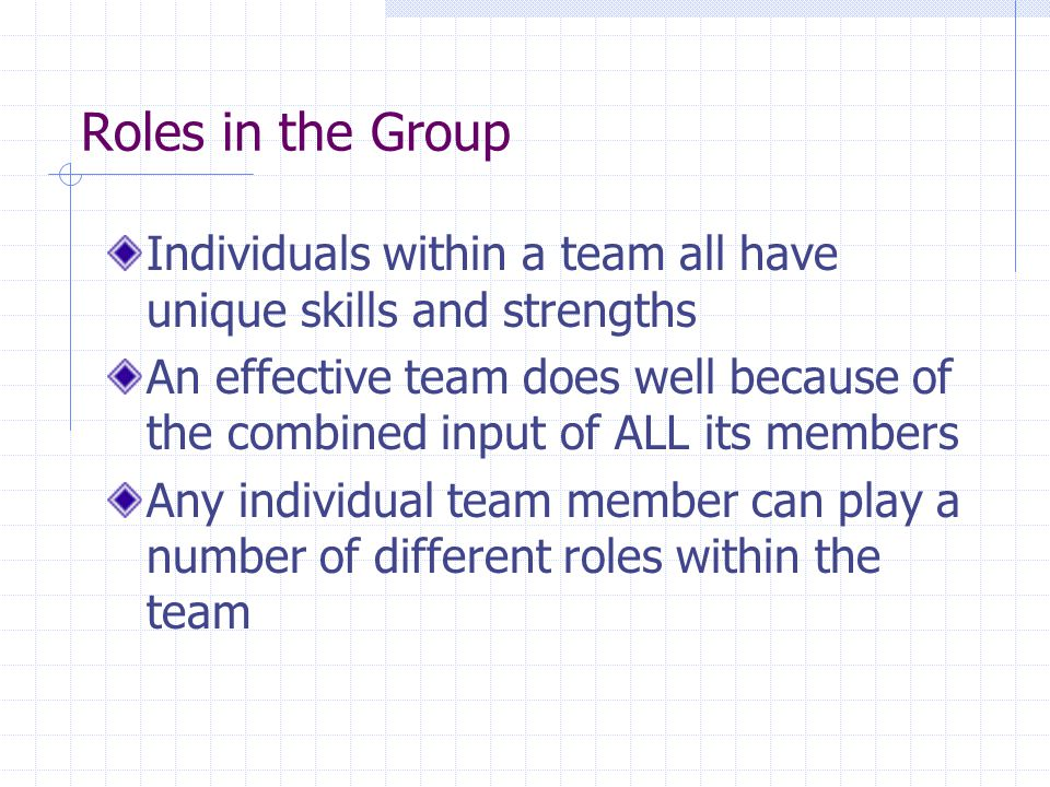 Roles in the Group Individuals within a team all have unique skills and strengths.