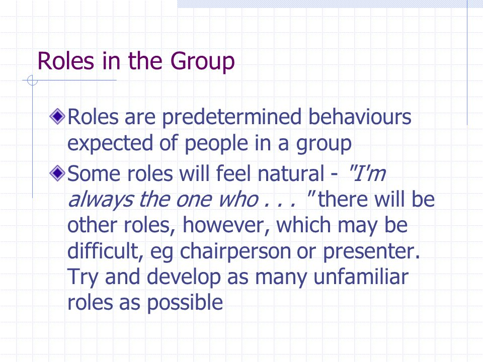 Roles in the Group Roles are predetermined behaviours expected of people in a group.