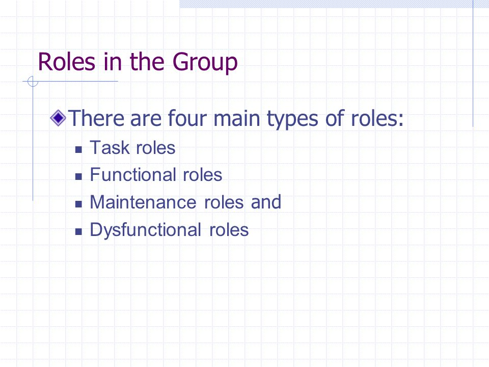Roles in the Group There are four main types of roles: Task roles