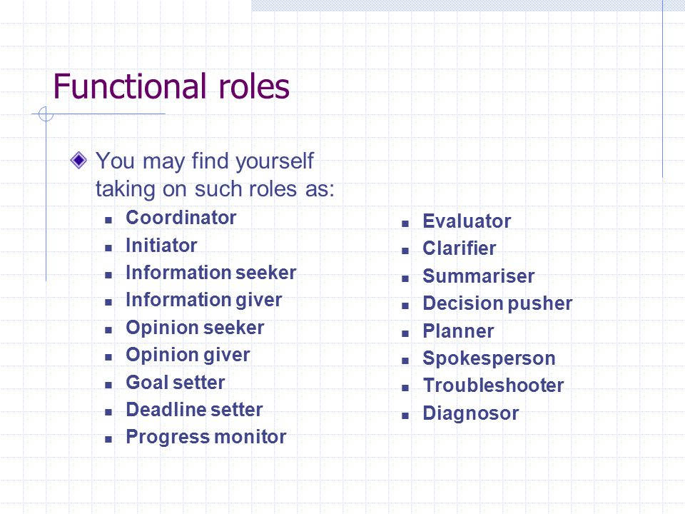 Functional roles You may find yourself taking on such roles as: