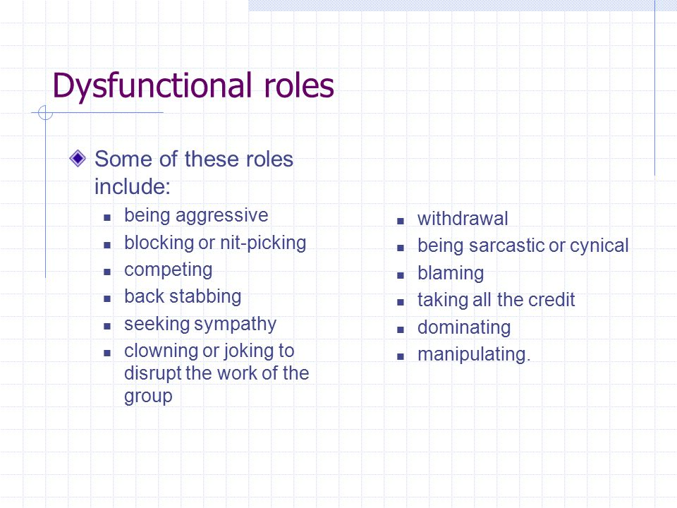 Dysfunctional roles Some of these roles include: being aggressive