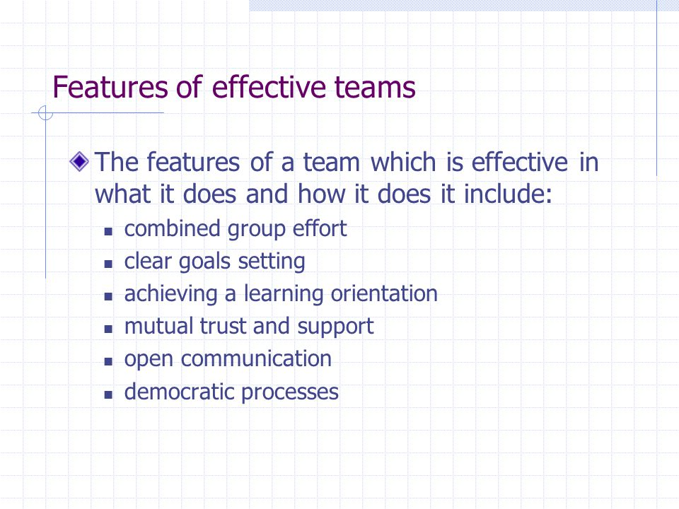 Features of effective teams