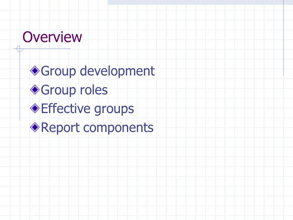 Overview Group development Group roles Effective groups