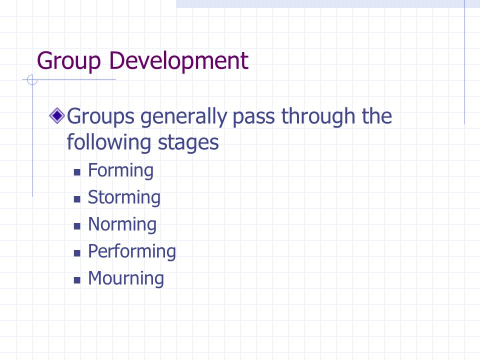 Group Development Groups generally pass through the following stages