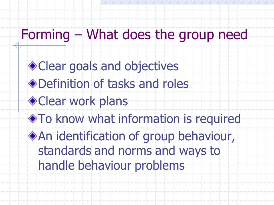Forming – What does the group need