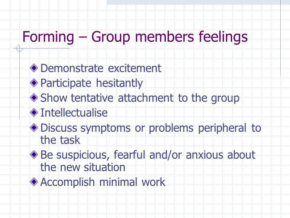 Forming – Group members feelings