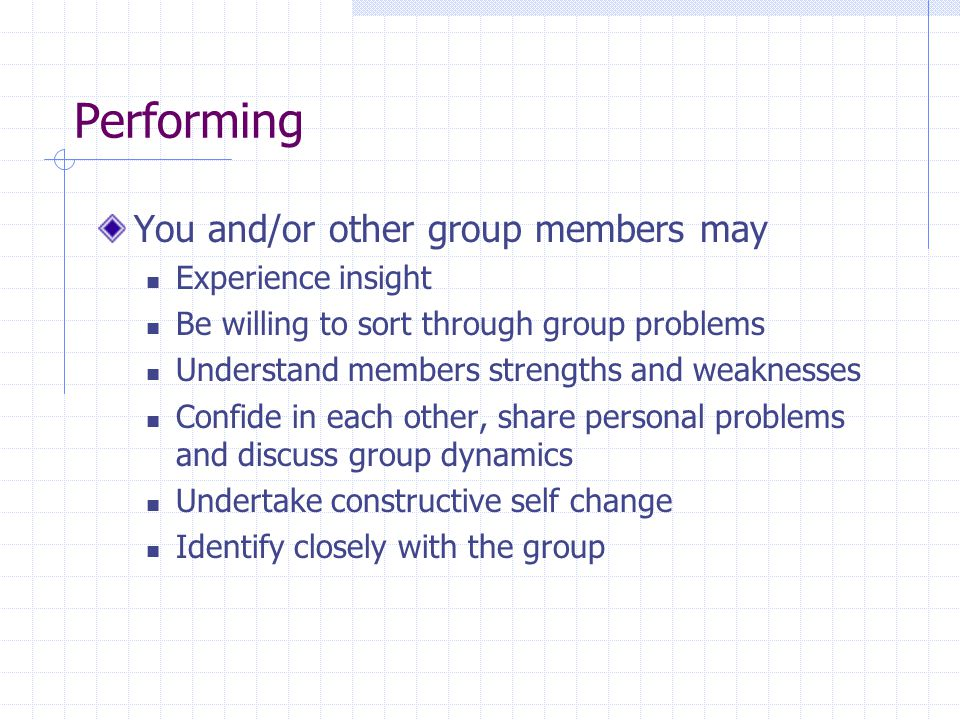 Performing You and/or other group members may Experience insight
