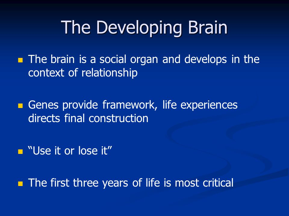 The Developing Brain The brain is a social organ and develops in the context of relationship.