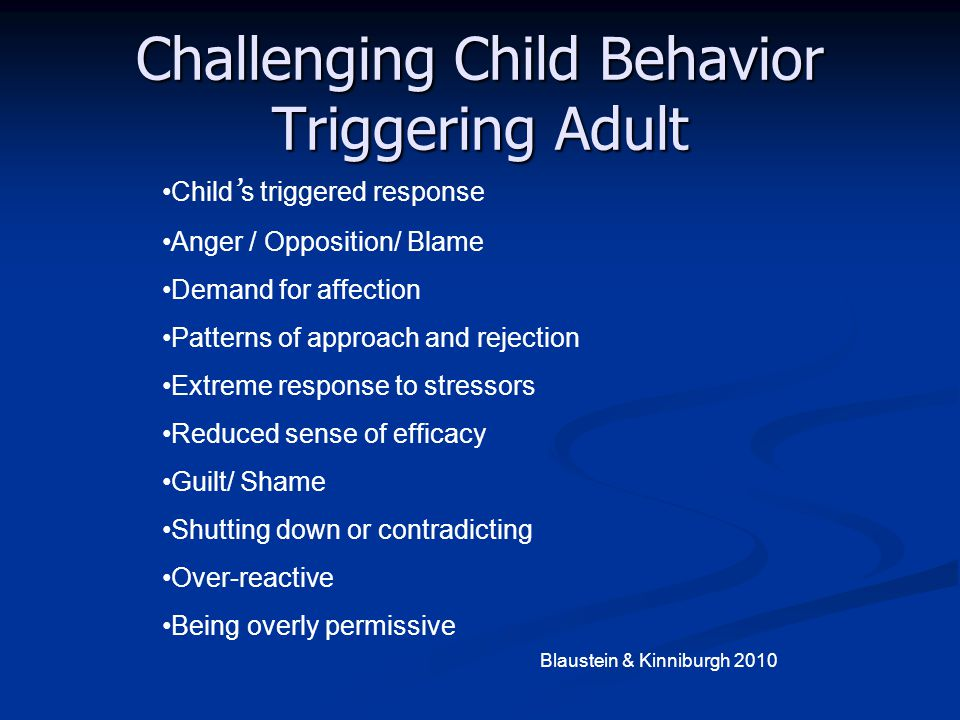 Challenging Child Behavior Triggering Adult