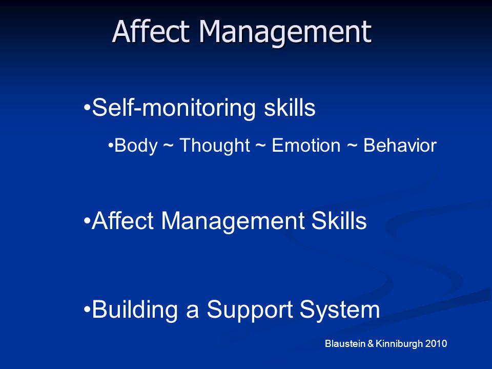 Affect Management Self-monitoring skills Affect Management Skills