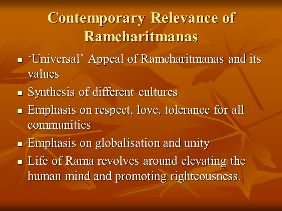 Contemporary Relevance of Ramcharitmanas