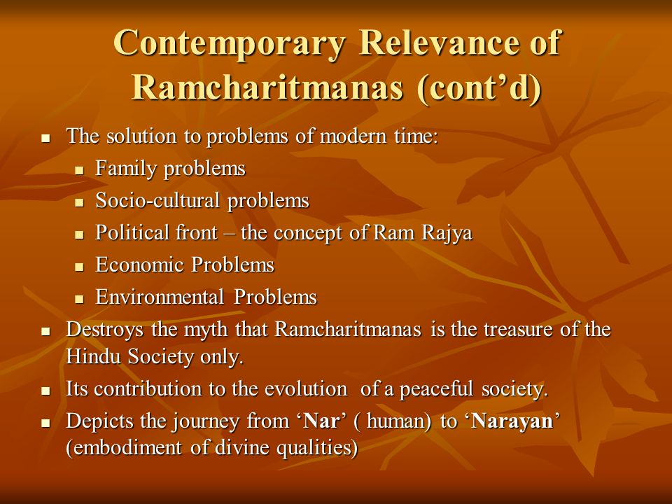 Contemporary Relevance of Ramcharitmanas (cont'd)