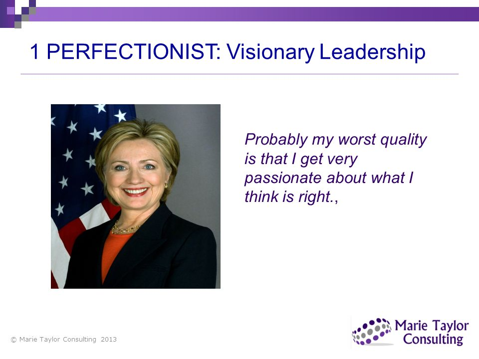 1 PERFECTIONIST: Visionary Leadership
