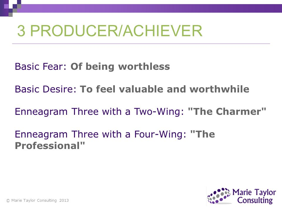 3 PRODUCER/ACHIEVER Basic Fear: Of being worthless
