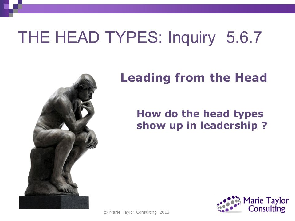 THE HEAD TYPES: Inquiry 5.6.7
