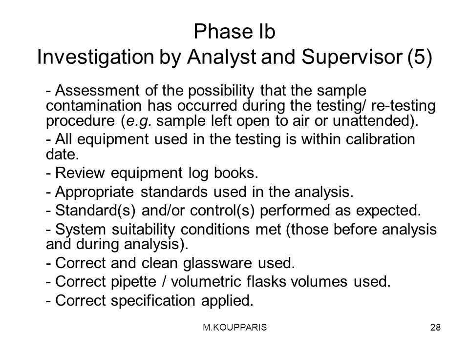 Phase Ib Investigation by Analyst and Supervisor (5)