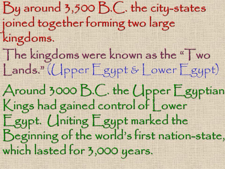 By around 3,500 B.C. the city-states