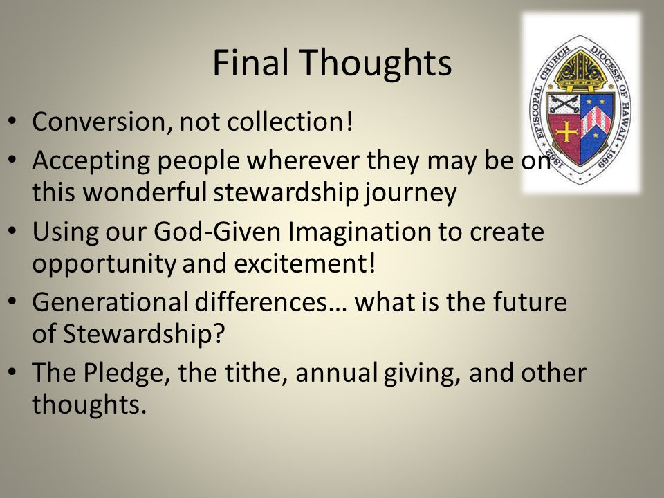 Final Thoughts Conversion, not collection!