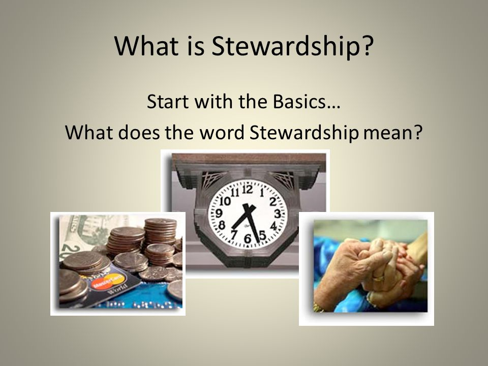 Start with the Basics… What does the word Stewardship mean