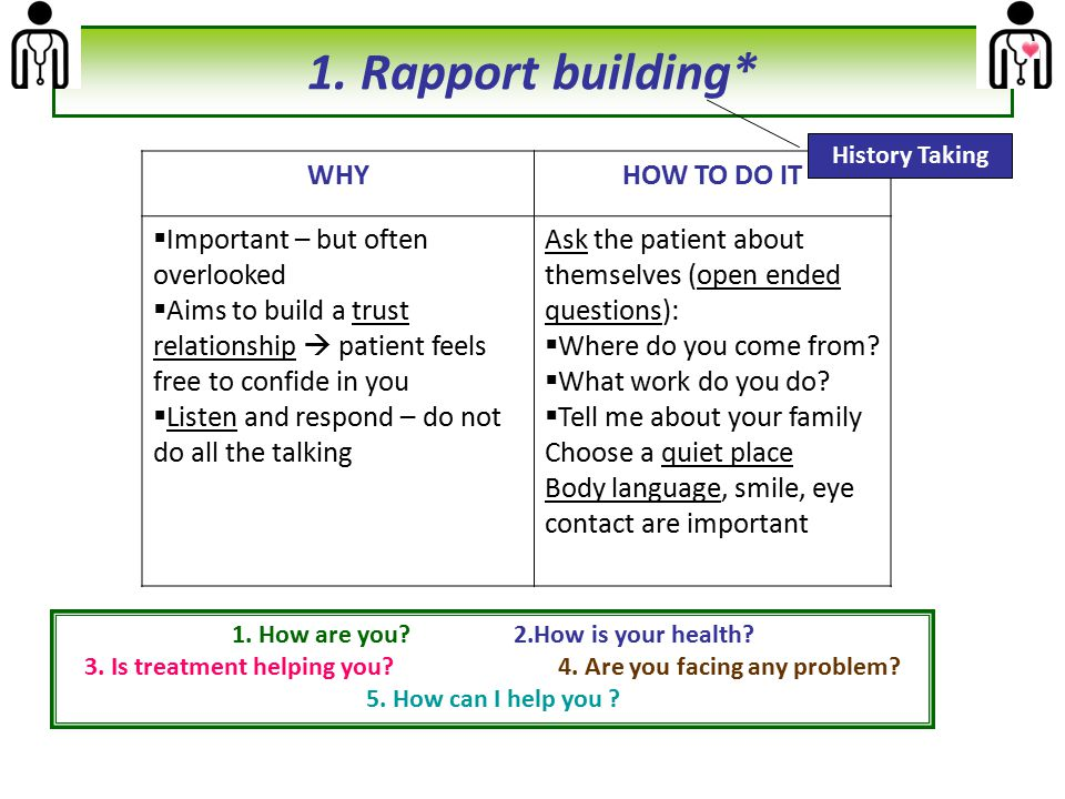 1. Rapport building* WHY HOW TO DO IT Important – but often overlooked