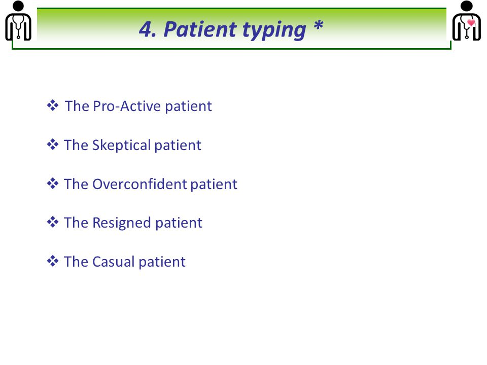4. Patient typing * The Pro-Active patient The Skeptical patient