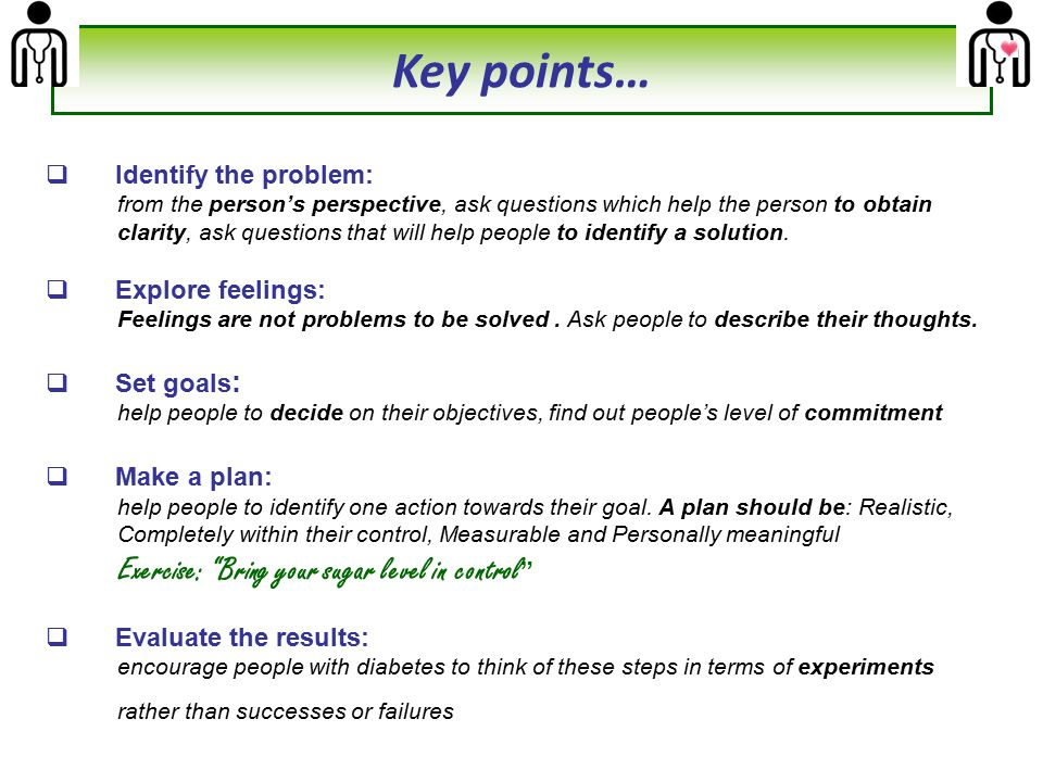 Key points… Identify the problem: Explore feelings: Set goals: