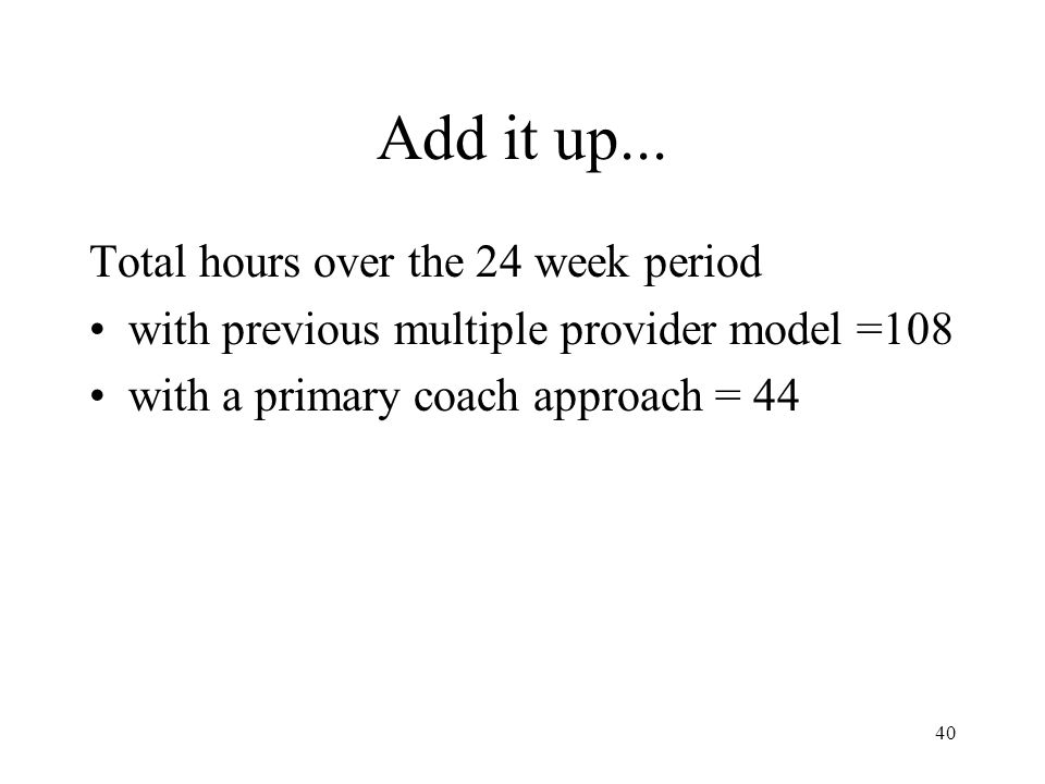 Add it up... Total hours over the 24 week period