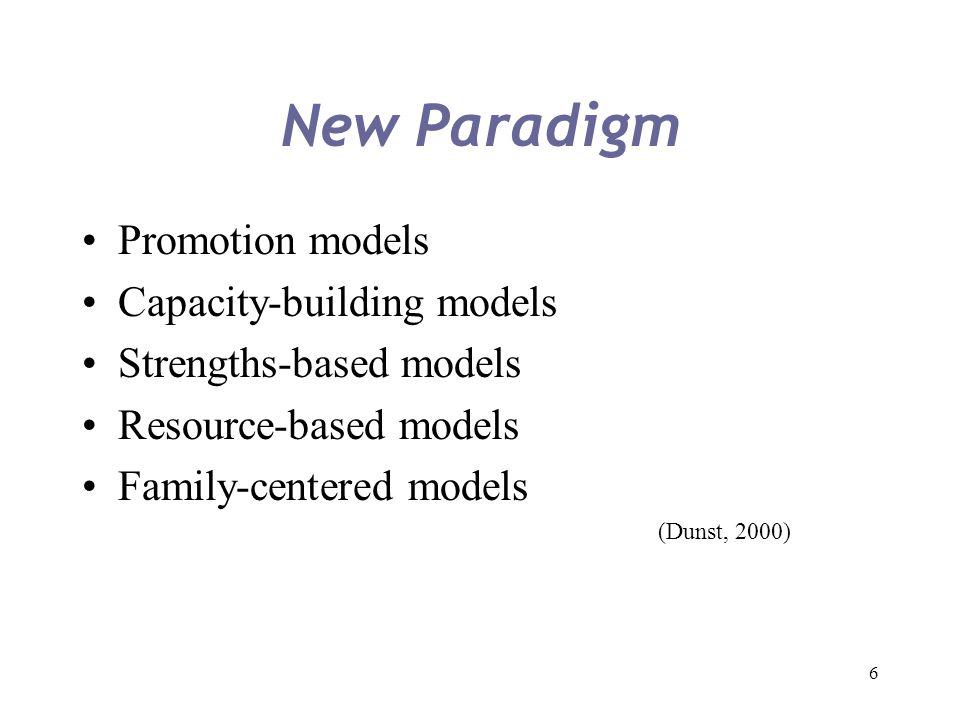 New Paradigm Promotion models Capacity-building models