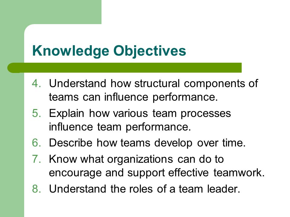 Knowledge Objectives Understand how structural components of teams can influence performance.