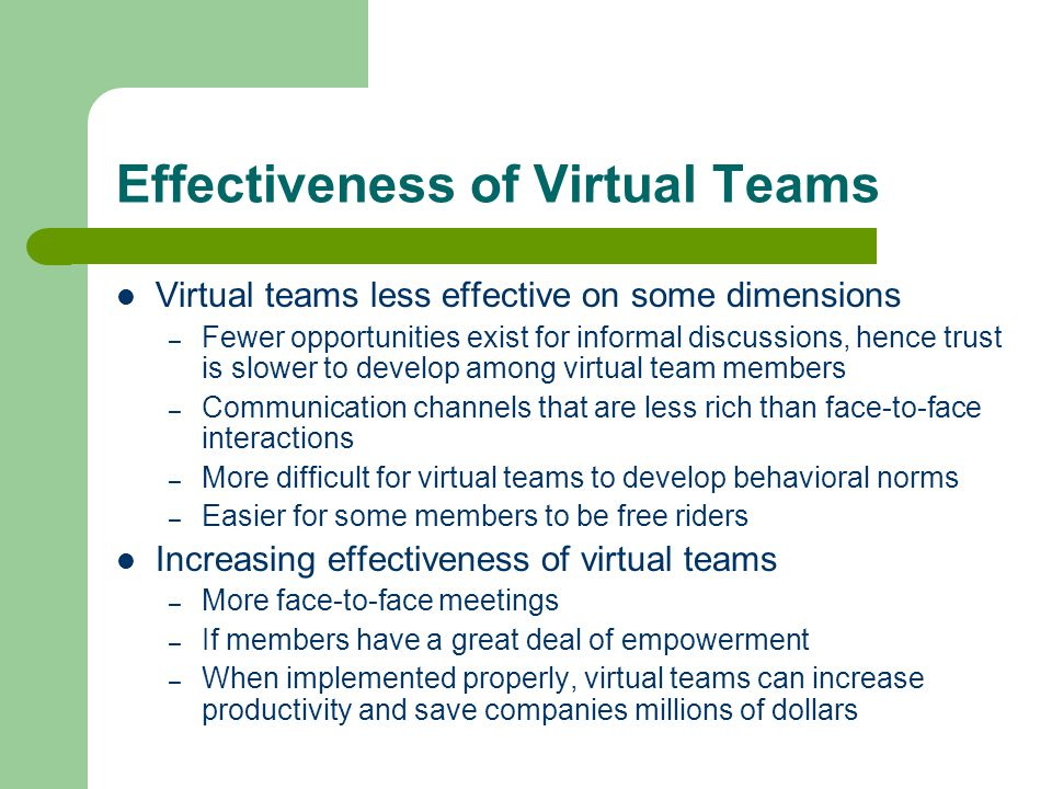 Effectiveness of Virtual Teams