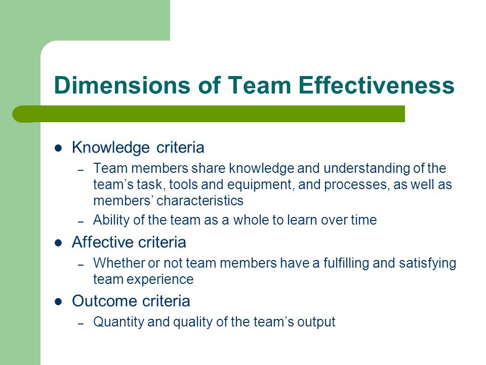 Dimensions of Team Effectiveness