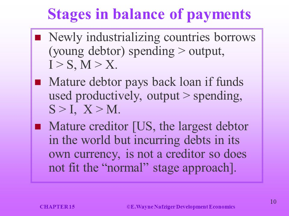 Stages in balance of payments