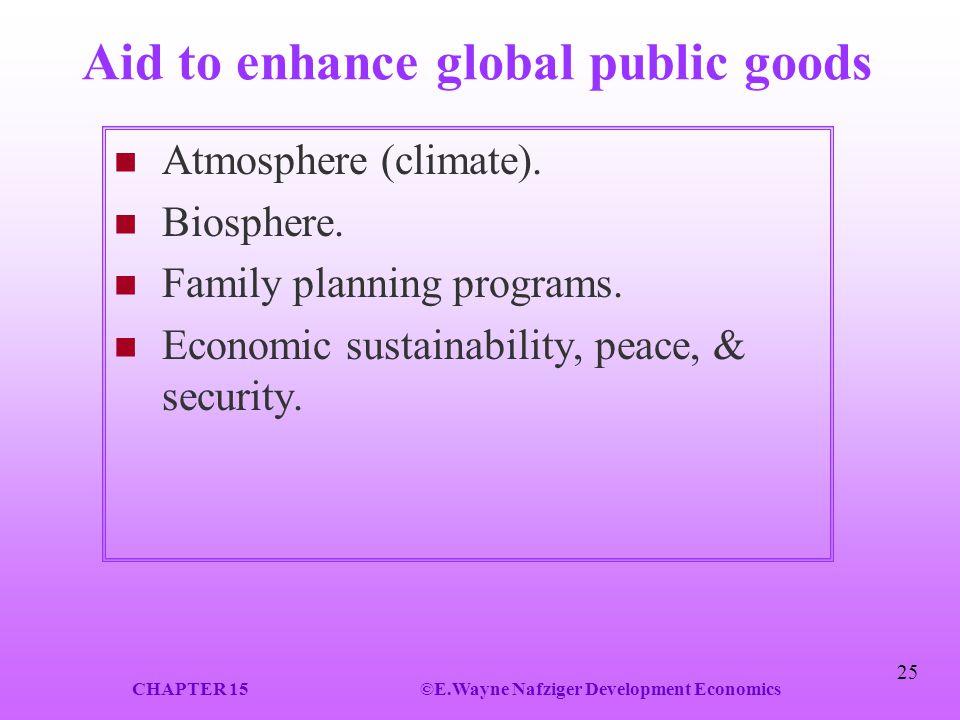 Aid to enhance global public goods
