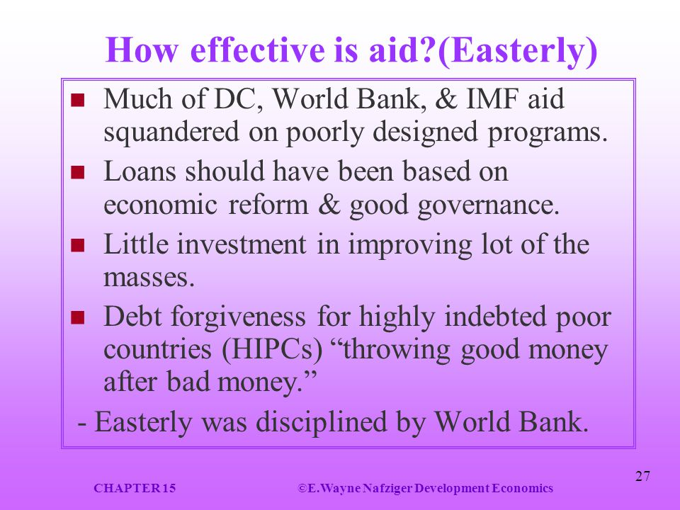 How effective is aid (Easterly)
