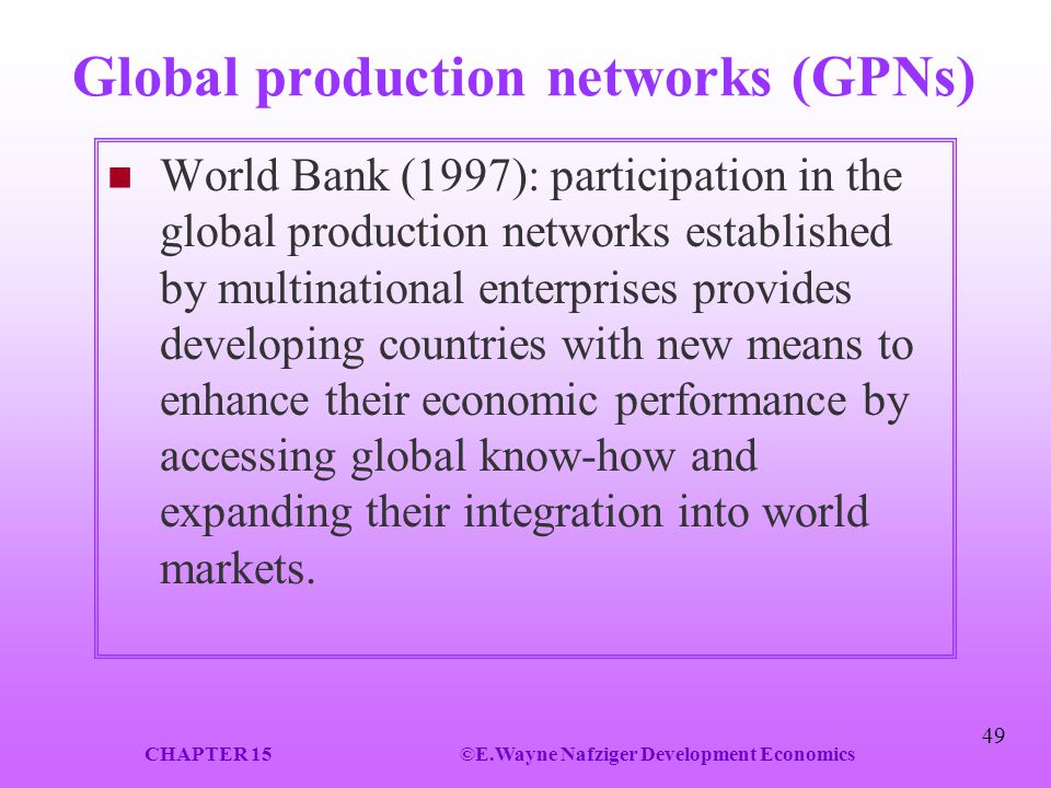 Global production networks (GPNs)