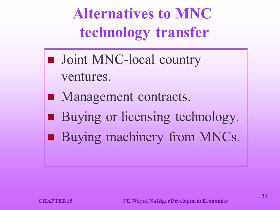 Alternatives to MNC technology transfer