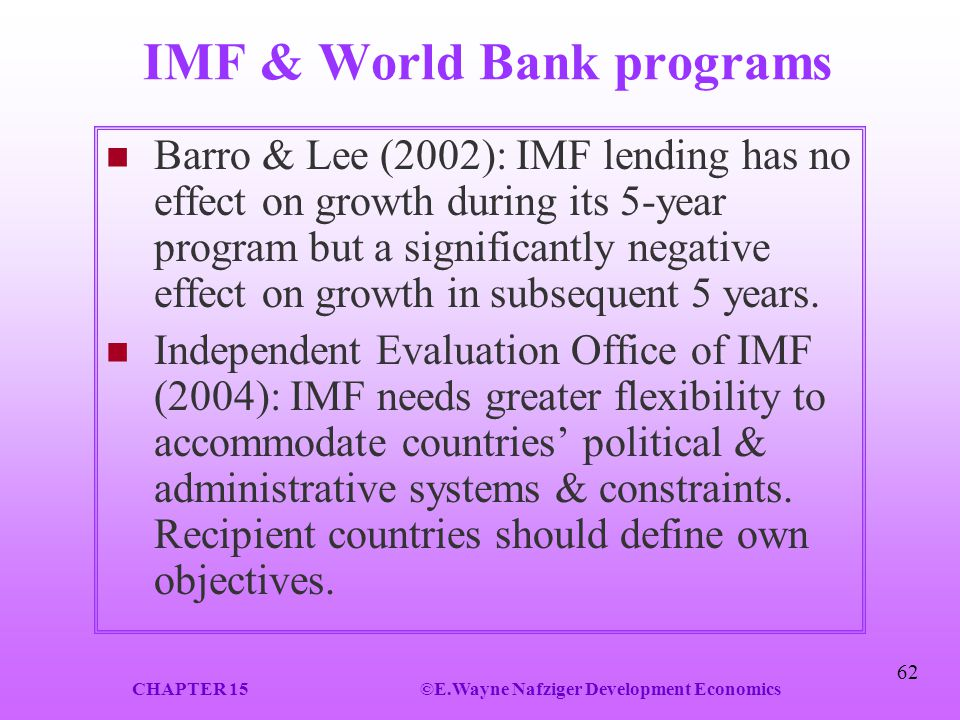 IMF & World Bank programs