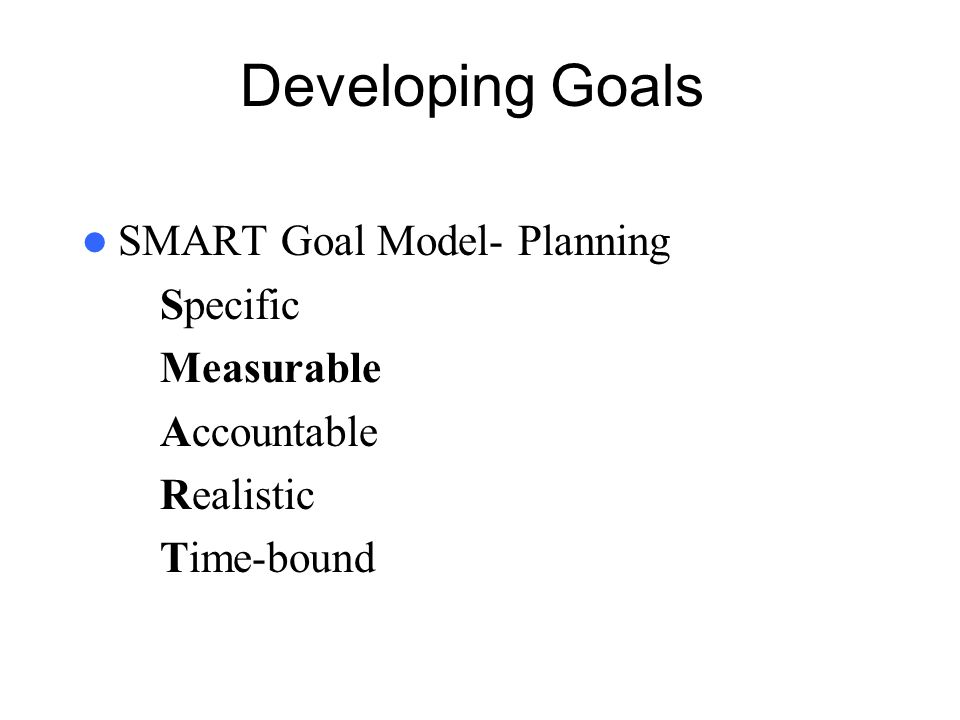 Developing Goals SMART Goal Model- Planning Specific Measurable