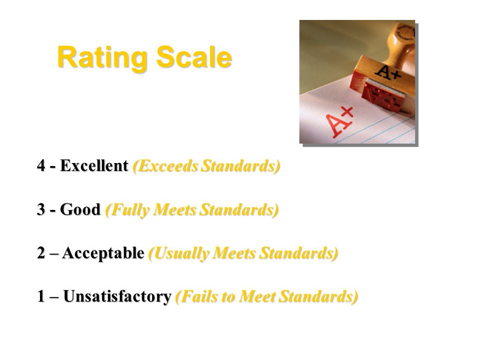 Rating Scale 4 - Excellent (Exceeds Standards)