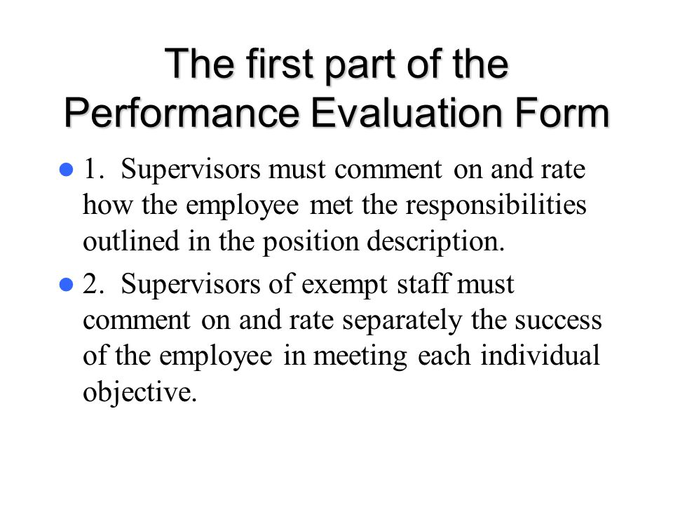 The first part of the Performance Evaluation Form