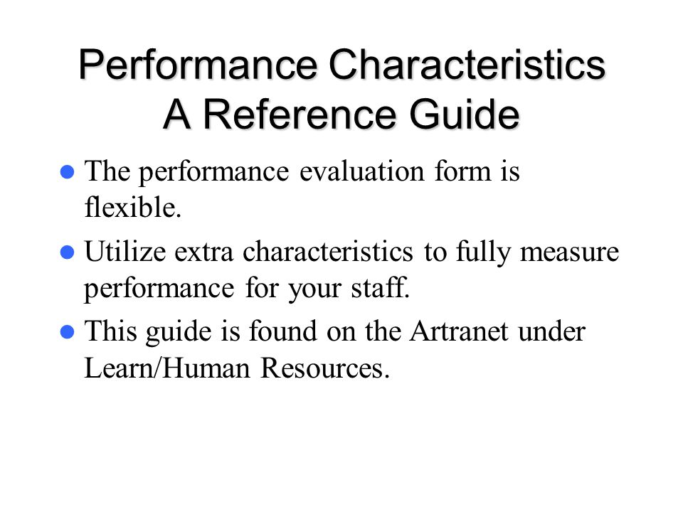 Performance Characteristics A Reference Guide