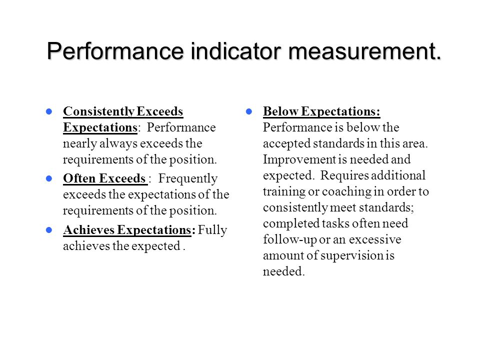 Performance indicator measurement.