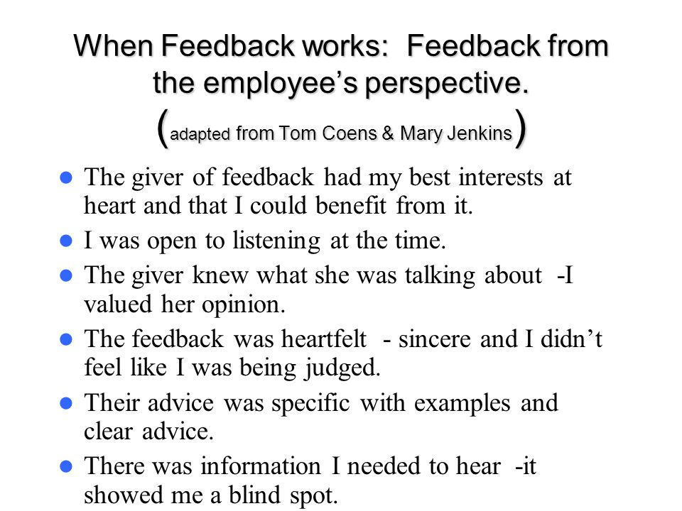 When Feedback works: Feedback from the employee's perspective