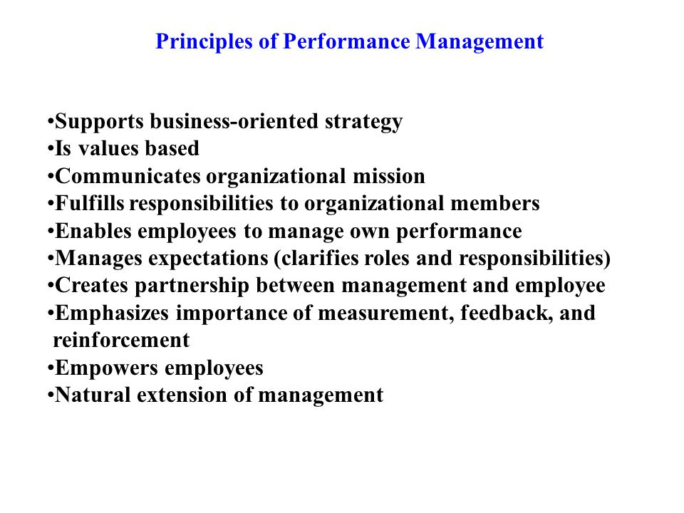 Principles of Performance Management