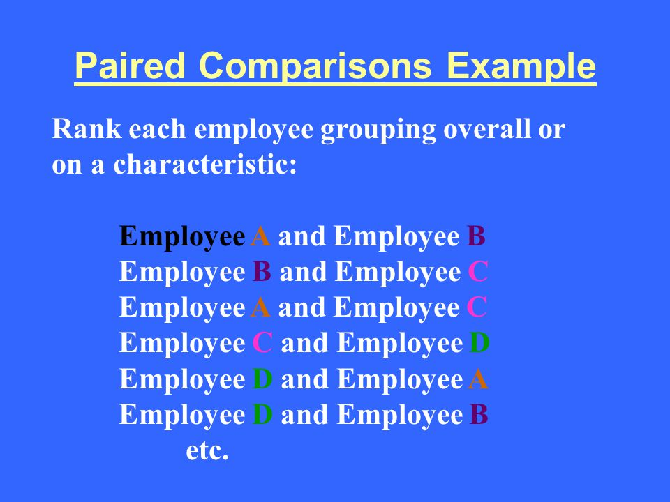 Paired Comparisons Example