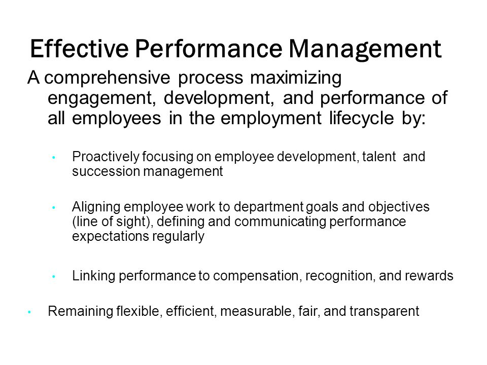Effective Performance Management