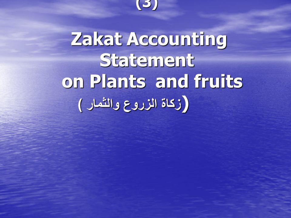 (3) Zakat Accounting Statement on Plants and fruits ) زكاة الزروع والثمار )