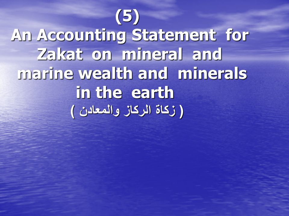 (5) An Accounting Statement for Zakat on mineral and marine wealth and minerals in the earth ( زكاة الركاز والمعادن )